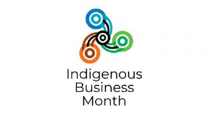 On a white background is a triangular shaped image with 3 circular elements connected by lines to a central double circle. Underneath are the words: Indigenous Business Month
