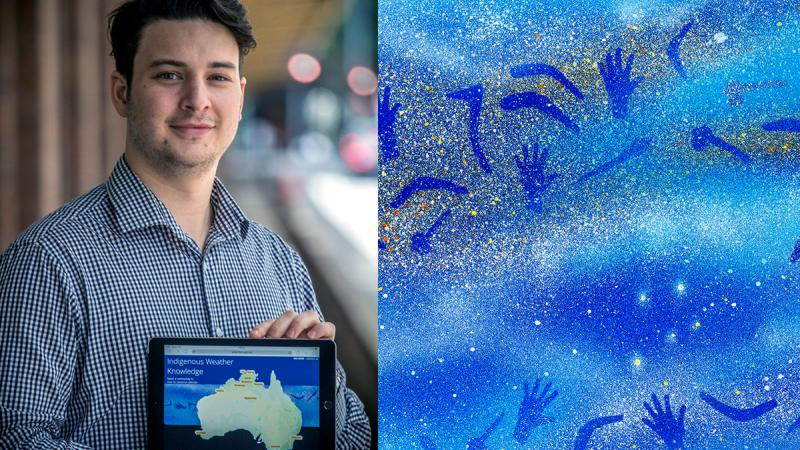 Young man with dark hair holding iPad featuring the Bureau of Meteorology's Indigenous Weather Knowledge website. The webpage shows a map of Australia