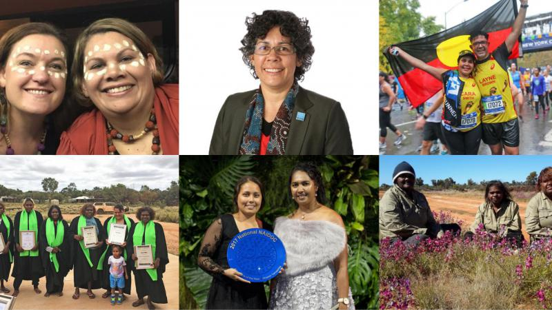 Six photos in a montage. Starting top left: 2 women with traditional face paint, woman in dark jacket wearing glasses, woman and man standing on street holding Aboriginal flag behind them, group of women in graduation gowns and holding certificates