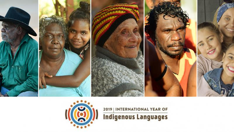 Five images of Indigenous people in different poses under which is a colourful logo and the words 2019 International Year of Indigenous Languages.