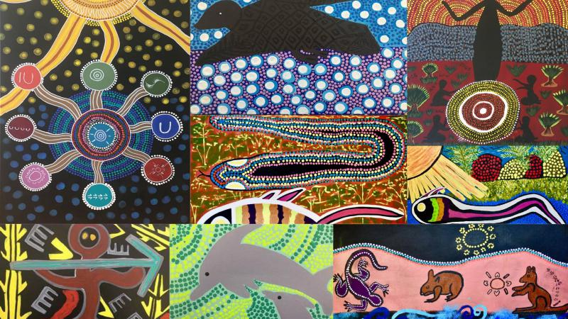 Collage of paintings featuring Aboriginal designs in multiples colours.