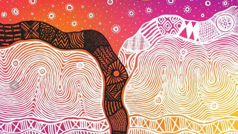 Colourful Indigenous design featuring stars on a orange and pink background above two black and white streams flowing into layers of swirling lines on a pink and yellow background.