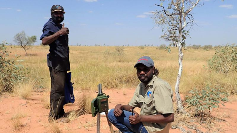 Aboriginal ranger in blue shirt stands and shows the thumbs up sign. Before him an Aboriginal ranger squats on sandy soil in front of a camera on a post. In the background are trees, grass and blue sky.