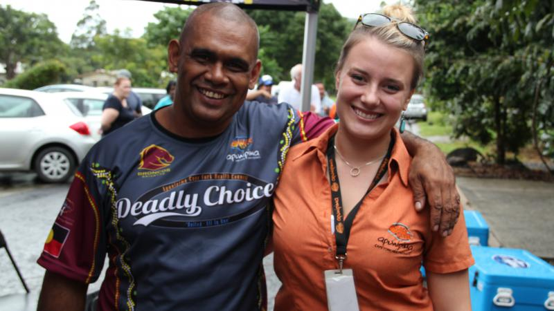 Apunipima Men's Health Manager Bernard David with Healthy Lifestyles administration officer Carly Hilton at the recent Deadly Choices launch at Mossman Gorge.