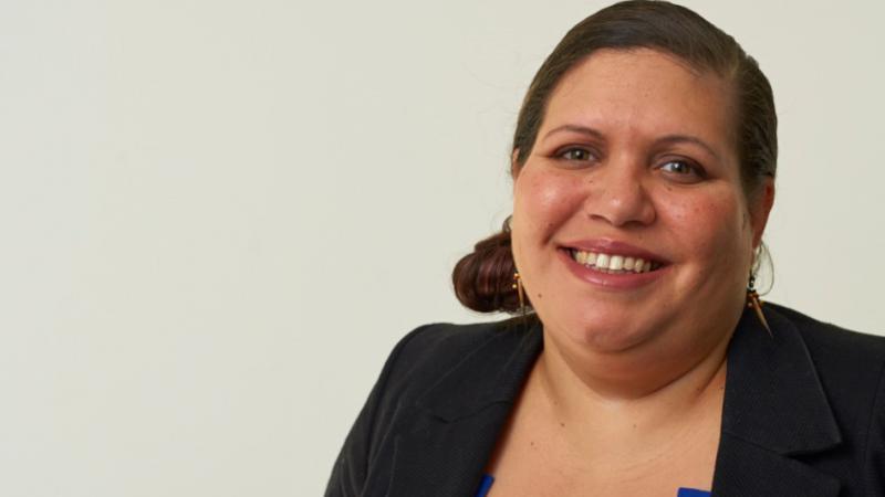 Indigenous woman Miara Watson smiling