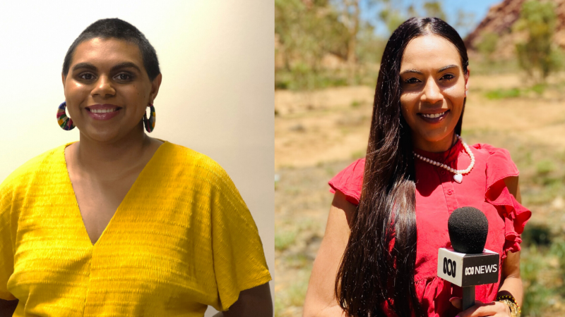 The first woman is standing in a room with white walls smiling and has her hands behind her back. She is wearing a yellow blouse and large colourful earrings. The second woman is in the outdoors and is holding a microphone. She is wearing a red blouse.