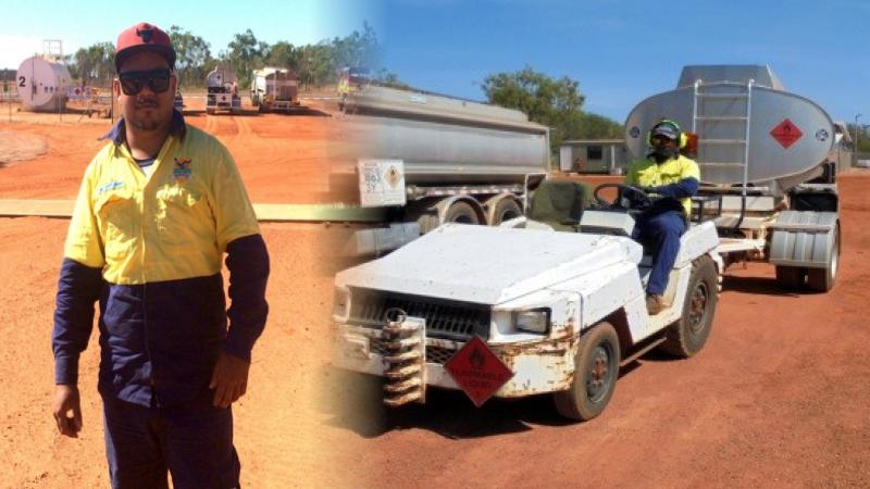 On the left: Indigenous man dressed in workwear stands in front of fuel trucks and fuel tank. On the right: Indigenous man dressed in workwear drives a white fuel trailer past a fuel truck.