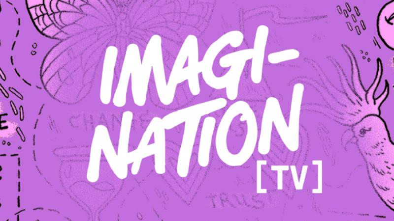 Purple and pink tile with line images of feet, a cockatoo, an emoji and more and at the centre are the words: Imagination [TV]