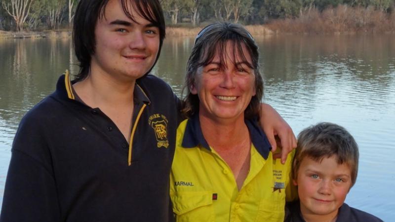Riverland Ranger Karmel Milson and her sons Jack (left) and Kallum.
