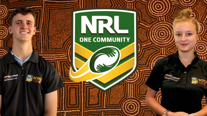 An Indigenous young man and an Indigenous young woman wearing dark polo neck shirts stand each side of a logo which says 'NRL One Community' with an Indigenous design in the background.