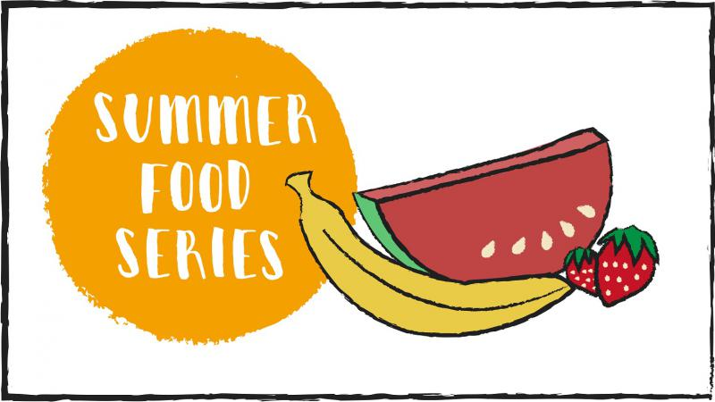 "White background with orange circle with ""Summer Food Series"" written in the middle. To the right half a watermelon, two strawberries and one banana."