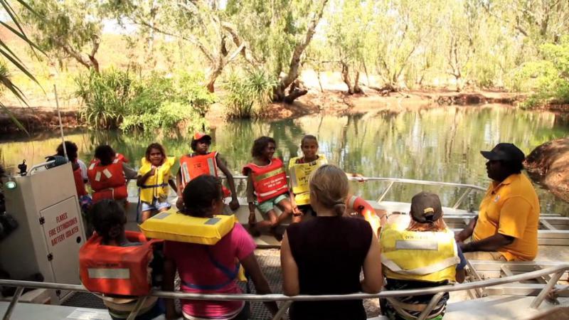 Children on boat on the Roper River