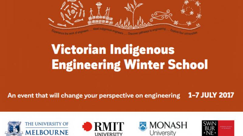 Ochre and white image with the following words: Victorian Indigenous Engineering Winter School, An event that will change your perspective on engineering 1-7 July 2017. It includes logos from the Melbourne, RMIT, Monash and Swinburne Universities