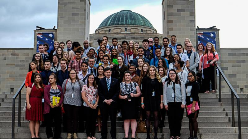 Participants in the WEX programme on the steps of the Australian War Memorial with Defence Minister Andrews.