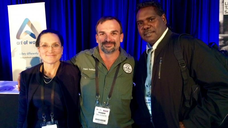 Dr Peta Miller (Safe Work Australia), Paul Augustin and Thomas Amagula (Dhimurru Aboriginal Corporation) at the Safety in Action conference in Sydney