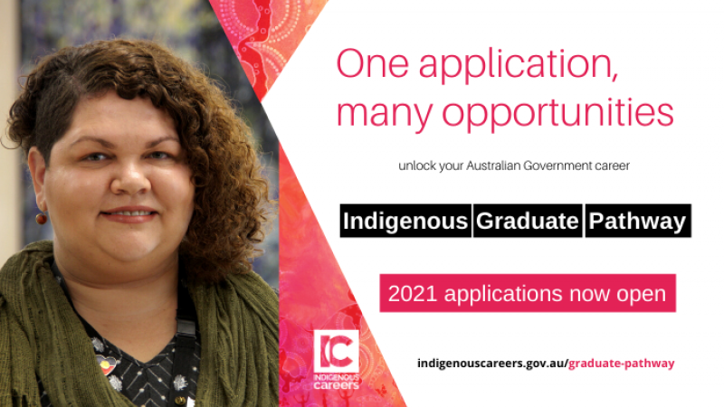 Woman with brown curly hair and green scarf smiling. One application, many opportunities Indigenous Graduate Pathway 2021 applications now open