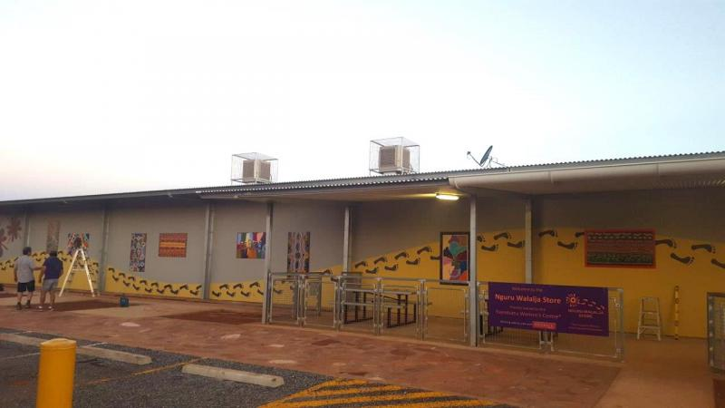 Local art work on the front wall of the new Nguru Walalja store at Yuendumu