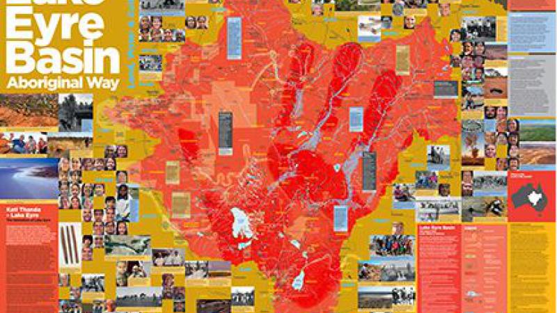 Compilation of multiple images of maps and brochures and landscape and people. Words at top left are Lake Eyre Basin Aboriginal Way.