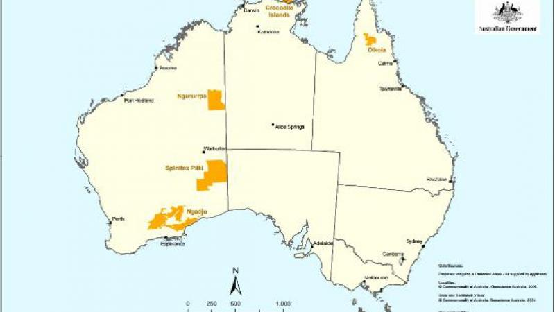 Map of Australia showing showing certain areas in yellow with the following words at the top: Projects funded under the New Indigenous Protected Areas Discretionary Round