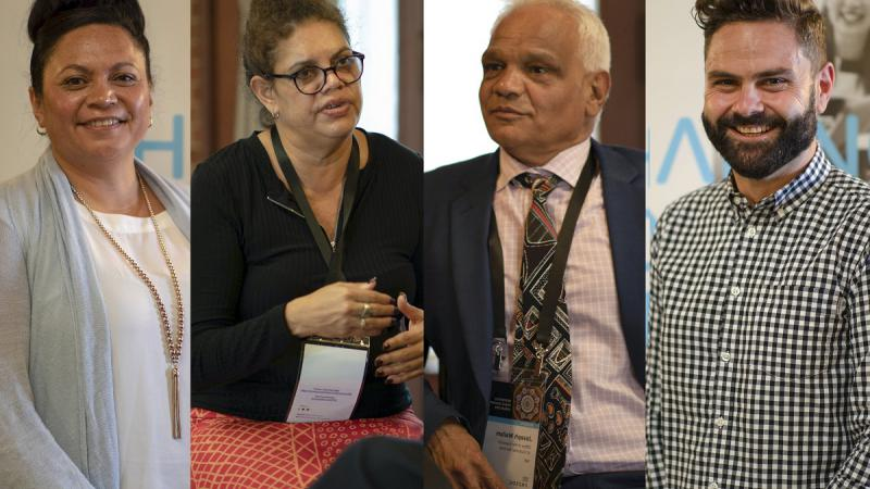 Montage of four people – from left: Maori woman in blue top, Aboriginal woman in dark top and orange skirt, Aboriginal man in blue suit and Aboriginal man in checked shirt.