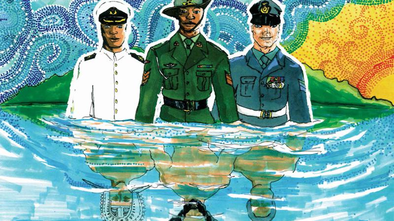 Graphical image of three Indigenous people dressed in naval, army and airforce uniforms but their images reflected in pool showing traditional Aboriginal and Torres Strait Islander dress