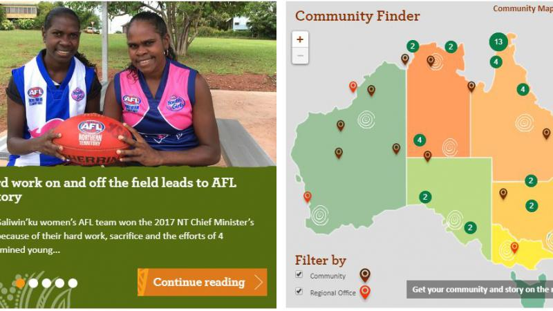 Two images side by side: on the left are two Aboriginal young women wearing AFL jumpers and holding a football. On the right is a map of Australia displaying map-markers and numbers.