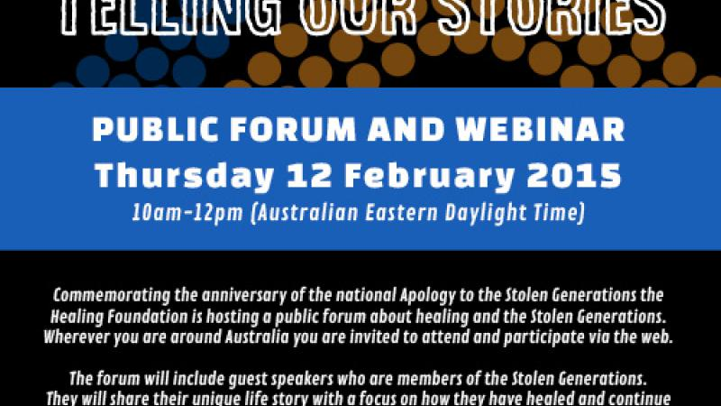 Details of the Healing Foundation Public Forum and Webinar