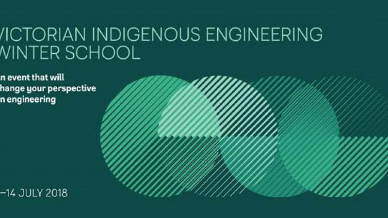 Poster with green background and image of 4 overlapping discs with the following words: Victorian Indigenous Engineering Winter School. An event that will change your perspective on engineering. 7-14 July 2018