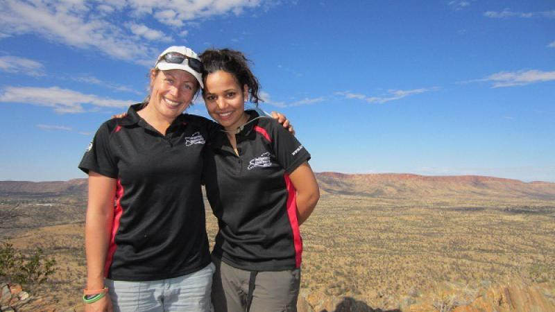 Competition winners Lynne Duthie, (L) and Alisha Nelson on the Larapinta Trail