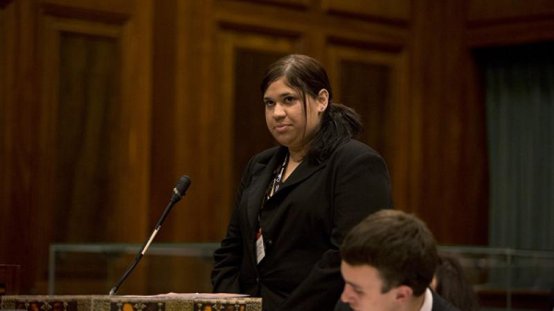 Larrakia woman Nateesha Collins addresses the National Indigenous Youth Parliament, Canberra, ACT. Photo: Penny Bradfield.