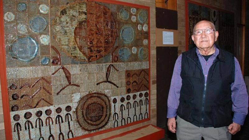 "Bangerang elder John ""Sandy"" Atkinson with one of the ceramic works on display at the Cultural Centre, Shepparton, VIC."