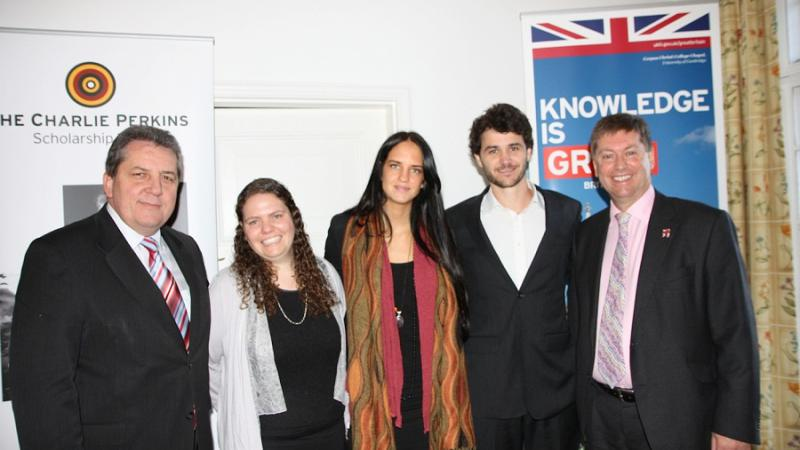 Senator Chris Evans, 2012 Charlie Perkins Scholars Krystal Lockwood, Lilly Brown and Kyle Turner with British High Commissioner Paul Madden