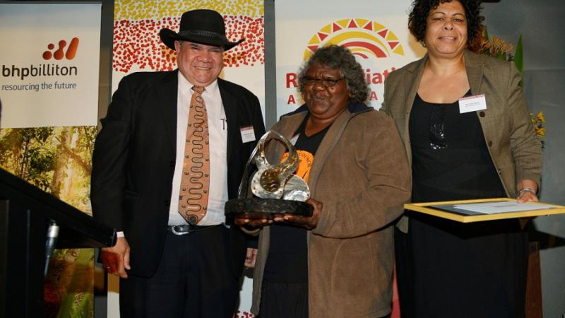 Indigenous Governance Awards chair Professor Mick Dodson with Yanyi Bandicha and Andrea Mason, who received an award for NPY Women's Council. Photo: Wayne Quilliam.