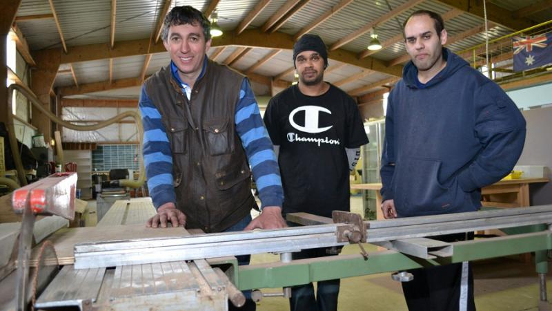 Trainer Mark Walters in the workshop with Try a Trade participants Mark Naden and Sam Rigney, Mount Gambier, SA.