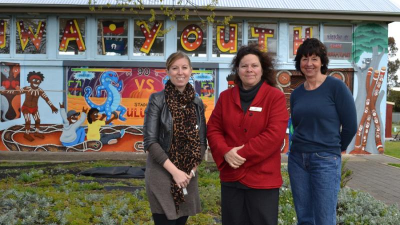 Pangula Mannamurna programs manager Sarah Bormann, CEO Karen Glover and clinic manager Fiona Wotherspoon, outside the health centre's youth room, Mount Gambier, SA.
