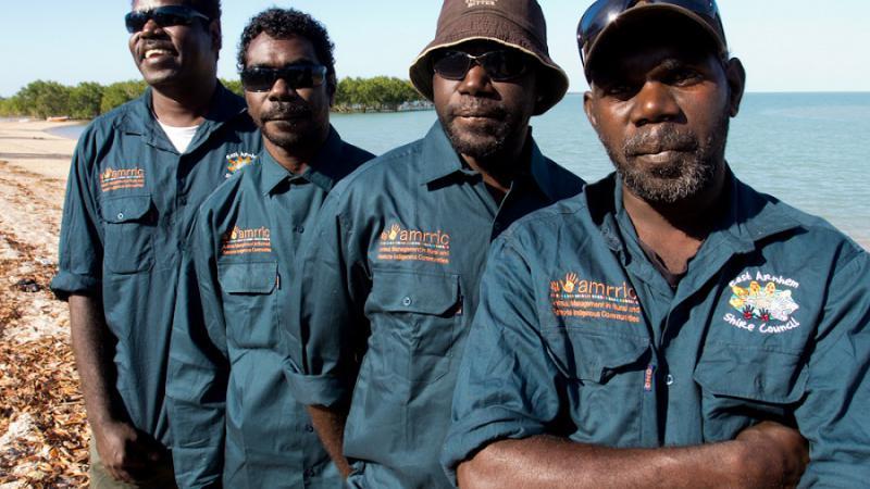 AMRRIC and East Arnhem Shire Animal Management Workers Tony Gunanganguwuy, Lawrence Banburrawuy, Neil Djandjan and Valphon Fry.