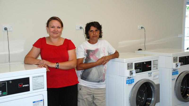 Melissa Tooth and Cetress Murray, who work at the Murdi Paaki Laundry in Walgett, NSW.