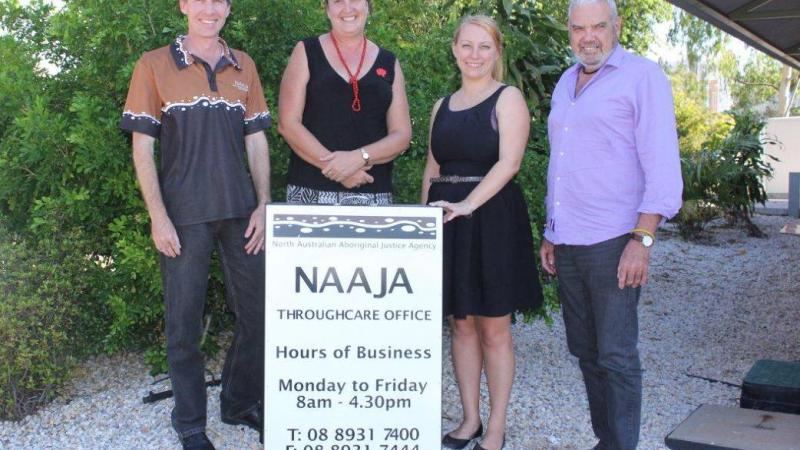 Matthew McCormack, Samantha Taylor-Hunt, Ellouise Davis and Terry Byrne from the NAAJA Throughcare Service.
