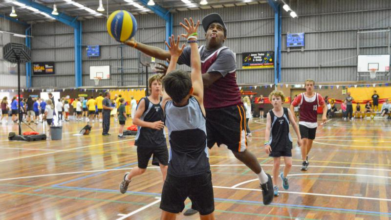 John Johnson from Lakes Entrance Secondary College at the first Vibe 3on3 event for 2013.