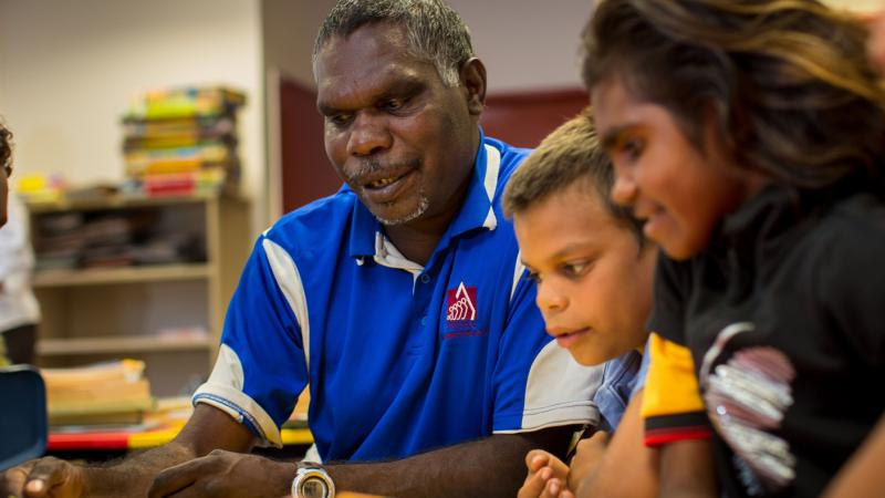 Frank Watt, Cajun Darby and Nanette Wilson-Watt at Mornington Island State School.