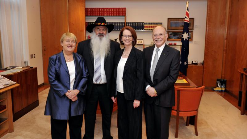 Prime Minister Julia Gillard and Minister Jenny Macklin with Expert Panel Co-chairs Pat Dodson and Mark Leibler.