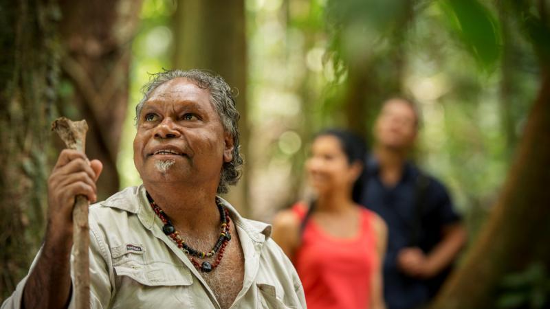 Kuku Yalanji elder Roy Gibson on the Dreamtime walk, Mossman Gorge Centre.