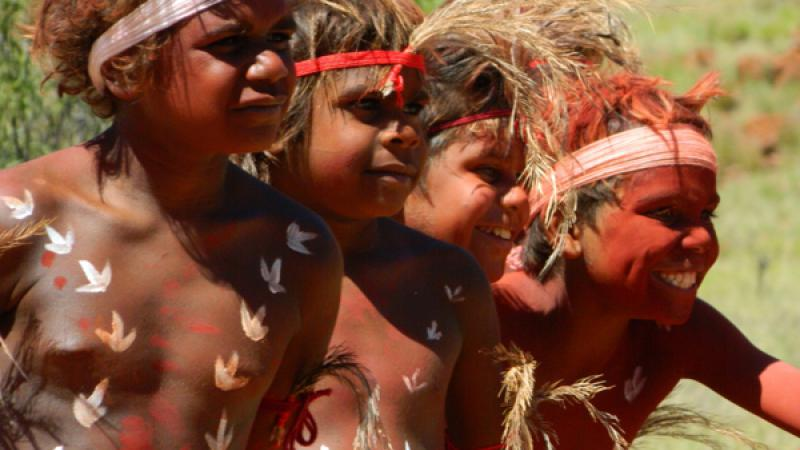 photo: Students from Murpatja Anangu School practice Inma.