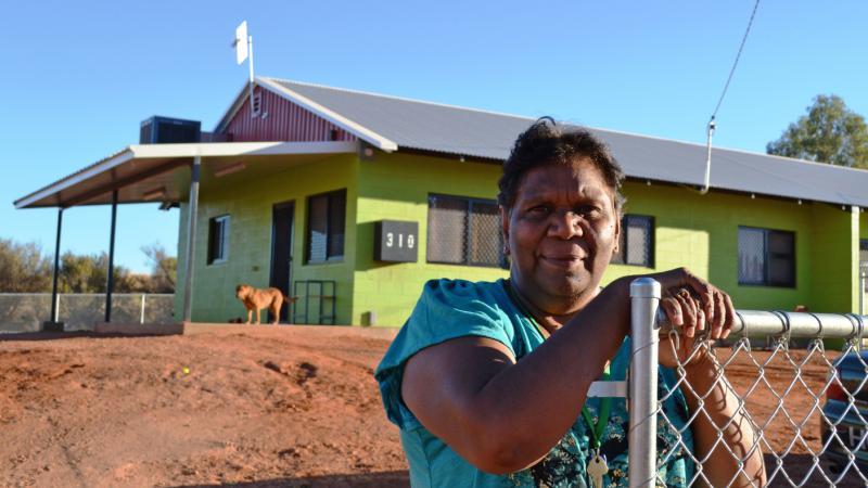 Moana Kantawara outside her new house in Hermannsburg, NT.