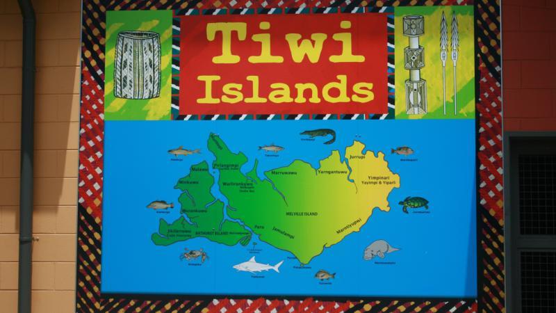 Map of the Tiwi Islands in Wurrumiyanga.