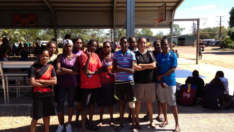 Barunga Indigenous Engagement Officer Amanda Ngalmi (front row, second from the right) with her basketball team at the Barunga Festival.