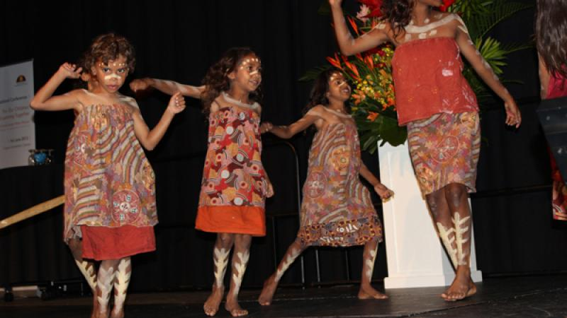 Children from the Yarrabah State School Dance Troupe performing in Cairns.