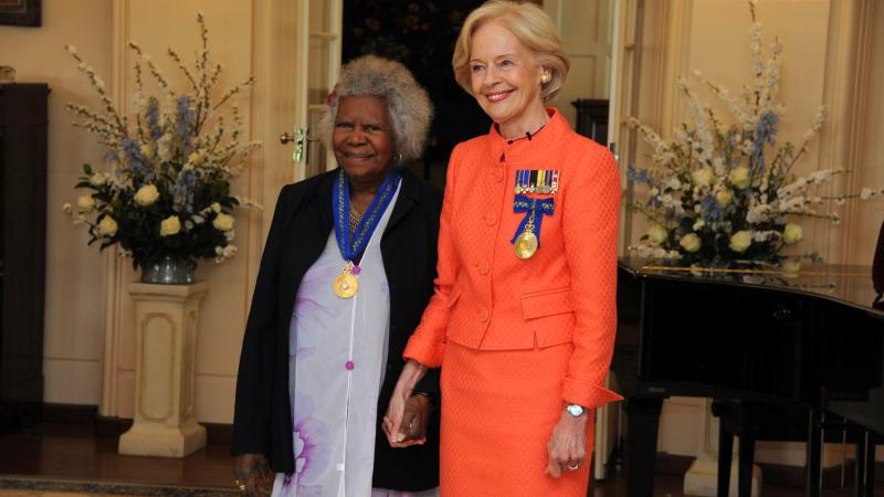 The Governor-General invests Bonita Mabo AO as an Officer in the General Division of the Order of Australia.