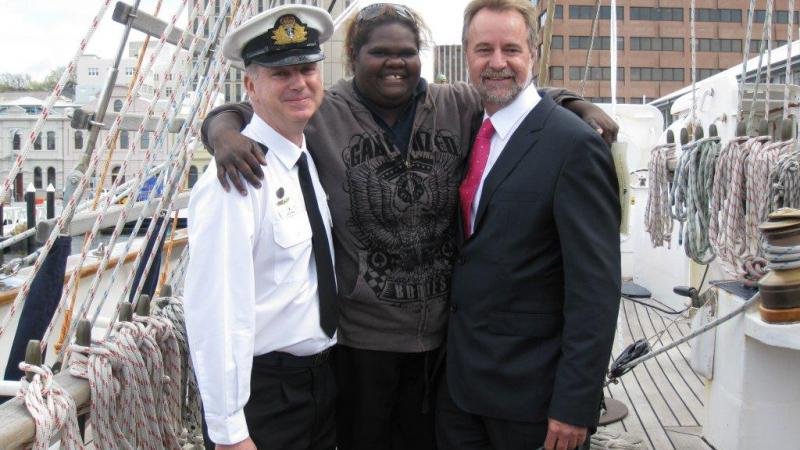 Lieutenant Commander Gavin Dawe with Beswick IEO Deanna Kennedy and Minister Nigel Scullion, Hobart, TAS.