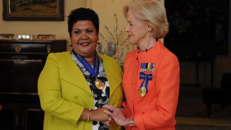 June Oscar AO with Governor-General Quentin Bryce at June's Order of Australia investiture ceremony.